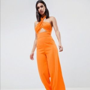 Orange romper cut out halter from ASOS. NEW!